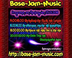 Am Montag startet die neue Woche und bei uns steigt erneut die Party mit vieler Allerlei an Musik,also habt Spass mit uns auf unserem HP Chat und mit unserem Programm mit gaaaanz viel Musik auf http://base-jam-music.com