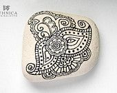 Painted rock / painted stone / decorative stone / mehndi ornament / art / home decor / Gift for Mothers day
