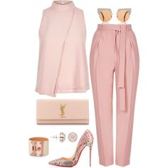 Breast Cancer Awareness by fashionkill21 on Polyvore featuring polyvore, fashion, style, River Island, Topshop, Christian Louboutin, Yves Saint Laurent, H.Azeem, Marni and clothing