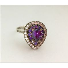 """New 925 Sterling Silver Topaz Amethyst Ring S 7.5 Beautiful elegant 925 Sterling Silver and bronze, Topaz Amethyst Ring 4.18 Grams, Head size is 5/8"""", size is 7.5.Go up on my page and click on my website it's under my name you will have free shipping there on etsy. Turkish style Jewelry Rings"""