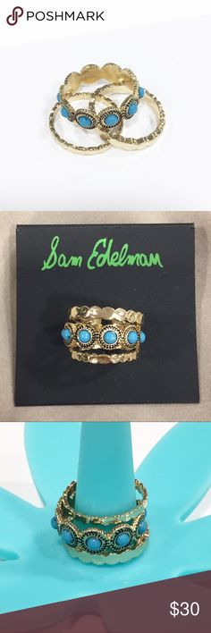 Turquoise and Gold-tone Sam Edelman Ring Set Set of 3, plated smooth and bezel set stone circle cabochon rings. Nickel free. Wear them stacked or separate! Three for the price of one! Sam Edelman Jewelry Rings