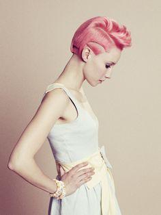 short, artistic pastel pink hair
