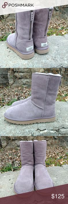 Ugg Classic Short Zip Boot Ugg Classic Short Zip Boot in Grey. Size 10. The color of these is officially listed as grey by Ugg but in my opinion they also have a hint of dusty purple tinge to them. These have never been worn so condition is excellent. I have the box if you are interested but it is a bit mashed up. UGG Shoes Winter & Rain Boots