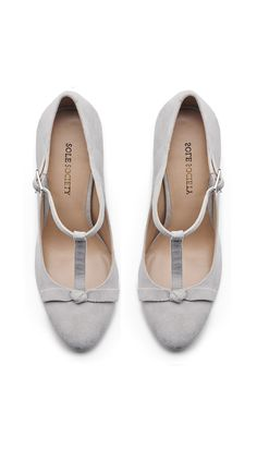 Grey bow mary janes