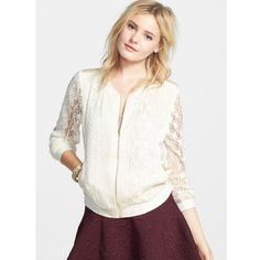 HP🎉Lace Jacket Girly  jacket with sheer lacy detailing, sheer sleeves, and shiny back panel. Brand is Band of Gypsies. Urban Outfitters Jackets & Coats