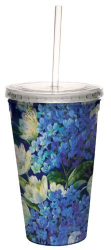 TreeFree Greetings cc33711 Hydrangea Arrangement by Nel Whatmore Artful Traveler DoubleWalled Cool Cup with Reusable Straw 16Ounce