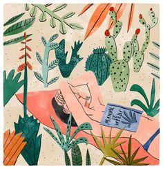 Lectora y cactus: pincha la literatura? (ilustración de Bodil Jane)