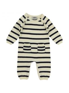 Junior Gaultier baby boys ivory and navy cotton stripe baby grow