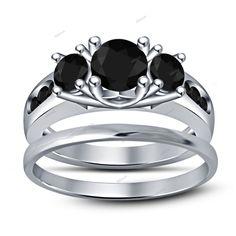 14K White GP Round Sim.Diamond 925 Silver 3 Stone Ladies Wedding Bridal Ring Set #Affoin8