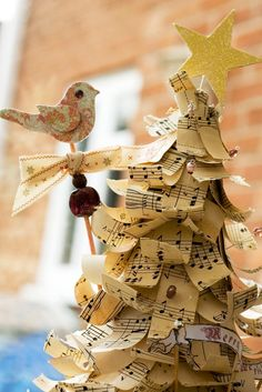 """Music Christmas tree--perhaps with the notes from """"O Christmas Tree""""?"""
