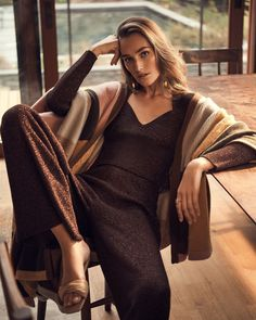 No-effort style, cue head-to-toe knits in brown and camel - from Intermix Silk Chiffon, Chiffon Dress, One Shoulder Gown, Satin Midi Skirt, Slip Skirts, Velvet Tops, Simple Dresses, Get Dressed, Knit Dress