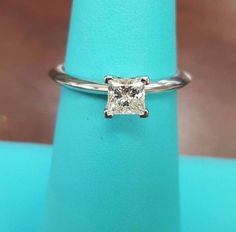 Tiffany & Co Diamond Engagement Ring Princess Cut .52ct I VS1 Platinum Mounting