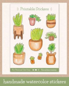 Add a pop of greenery to your spreads with these aesthetic potted plant sticker sheet! These stickers are created using the loose watercolor technique and are perfect to create an effortless look for your journal. You can choose from 9 handmade watercolor stickers for your bullet journal, planner, or scrapbook. And since this is printable, you can enjoy UNLIMITED PRINTS!