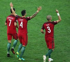 #EURO2016 Portugal players celebrate during the penalty shoot out following the UEFA Euro 2016 Quarter Final match between Poland and Portugal at Stade...