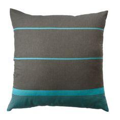 taie d oreiller carree 60x60 cm en coton fond gris anthracite et rayures turquoises