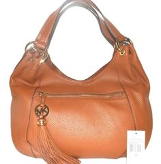 MICHAEL KORS Luggage Brown Pebbled Leather Logo Charm Tassel Hobo NWT RARE $368