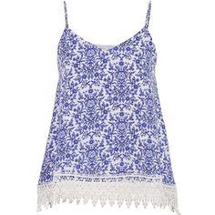 maurices Floral Print Chiffon Tank With Lace Trim ($29) ❤ liked on Polyvore featuring tops, tank tops, blue twilight combo, blue tank top, lace trim tank top, chiffon tank, blue top and chiffon tank top