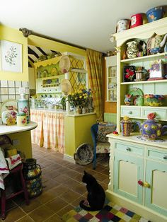 Vintage Yellow Country Kitchen country cottage natural oak and painted small dresser | small