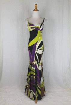 Vintage CACHE 1930's Inspired Pucci Print Silk Mermaid Hem Bias Cut Evening Gown 2 by GlamArchive2017 on Etsy