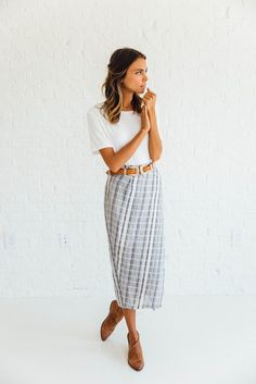 Linen Stripe Skirt | Clad & Cloth Apparel