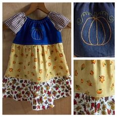 Fall Toddler Peasant Dress, size 18 months by SewMeems on Etsy