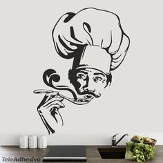 Wall Stickers Cook Wall Painting Decor, Diy Wall Art, Framed Wall Art, Mural Art, Wall Murals, Food Graphic Design, African Art Paintings, Tree Stencil, Kitchen Wall Decals