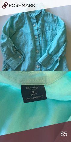 Gap - toddler boy shirt Size 3T boys button up linen shirt; excellent condition! Aqua color. GAP Shirts & Tops Button Down Shirts