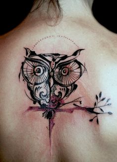 See more Owl design tattoo on back