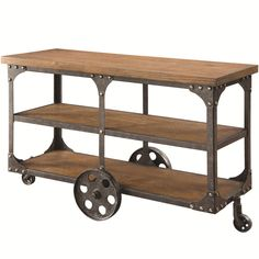 Rustic Country Brown Wood Metal Sofa Table w/Shelf