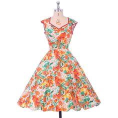 Grace Karin Vestidos De Verano Floral Print Summer Dresses Women Vestido Vintage Retro 50s Rockabilly Dress 007600