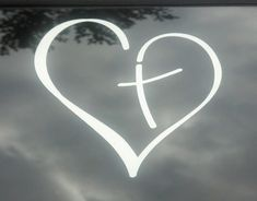 Vinyl Decal Heart with Cross in Center Christian by PonderTruth