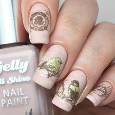 Aww birdies!! And vintage birdies too....all from @moyra_nailpolish stamping plate 05 - Vintage funnily enough! And also a superb opportunity to try out @barrymcosmetics new Gelly - Pink Lemonade. Loving these new shades Barry Stamping polish is @mundodeunas Chocolate and @barrymcosmetics Gold Foil. Moyra plates purchased from @rainbow_c_uk