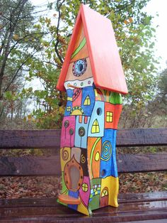 Vogelvilla Vogelhaus Nistkasten Hundertwasser - Stil in Garten & Terrasse, Dekoration, Vogelhäuser | eBay