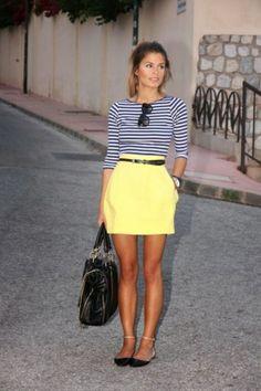 ღ♥♥ღ Fashion Is Life ღ♥♥ღ: Yellow Mini Skirt # Black Bag
