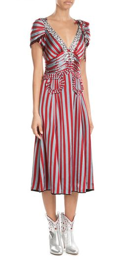 Bold+in+stripes+of+bright+red+and+blue-toned+silver,+this+midi-length+dress+from+Marc+Jacobs+is+a+standout+pick+wi…