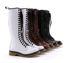 3 Colors Red Avril Lavigne Top Cowskin 20 holes Martin boots genuine leather durable long boots