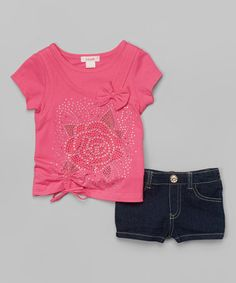 Look what I found on #zulily! Pink Rhinestone Rose Tee & Denim Shorts - Toddler & Girls #zulilyfinds