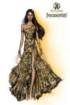 Harrods' Disney Princess Designer Gowns: Pocahontas by Roberto Cavalli