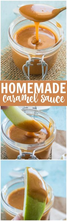 How to make a homemade caramel sauce!  Perfect for any dessert topping! Quick and easy recipe