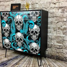 Upcycled Vintage Chest of Drawers Skull Octopus, Decoupaged Cabinet, Bedroom Storage, Decoupage Ideas, Painted Dresser Graffiti Furniture, Skull Furniture, Funky Painted Furniture, Cool Furniture, Etsy Furniture, Plywood Furniture, Modern Furniture, Furniture Design, Meubles Peints Style Funky