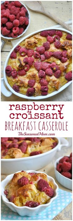 This decadent Raspberry Croissant Breakfast Casserole is perfect for Mothers Day!