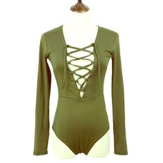 """The Body"" Olive Bodysuit New in Plastic Color: OLIVE Material: Cotton & Polyester Sizing: True to size but has stretch to it Measurements:  Sleeves: 23.2"" Bust: 33-37"" Waist: 26.8-30.7"" Bottom is bikini style; Strings adjustable  Retail item: PRICE FIRM No trades.  When using bundle discount, prices are firm. Tops"