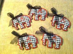 Burlap Alabama Houndstooth Elephant Ornaments Set by KristiAkins, $35.00