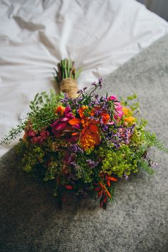 Bouquet Orange Green Purple Bride Bridal Flowers Wild Natural Colourful Outdoorsy Tipi Wedding http://amybphotography.co.uk/