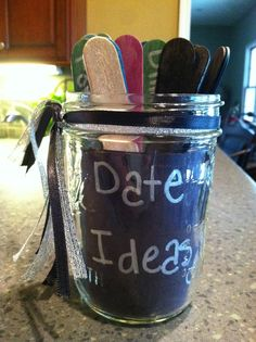 Spray paint popsicle sticks to represent different categories of dates Draw a stick when you want to have a date. Birthday Gifts For Boyfriend, Boyfriend Gifts, Date Night Jar, Cute Date Ideas, Jar Gifts, Popsicle Sticks, Love And Marriage, Popsicles, Small Gifts