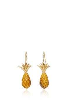 Pinapple earrings by ANNETTE FERDINANDSEN for Preorder on Moda Operandi
