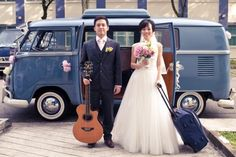 I wonder if we could get a VW van to take the wedding party from the ceremony to the reception. that would be adorable.