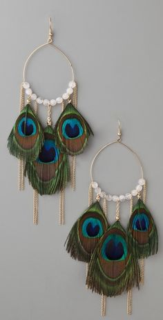Peacock Feather & Chain Earrings