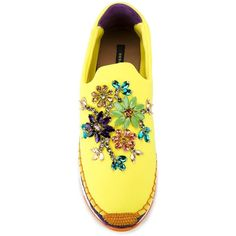 Dolce & Gabbana Embellished Espadrille Slip-on Sneakers (1.755 BRL) ❤ liked on Polyvore featuring shoes, sneakers, yellow sneakers, leather shoes, yellow shoes, leather sneakers and purple sneakers