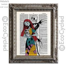New to EcoCycled on Etsy: Nightmare Before Christmas 18 Jack Skellington & Sally with Baby on Vintage Upcycled Dictionary Art Print Book Art Print Love Romance Family (10.00 USD)